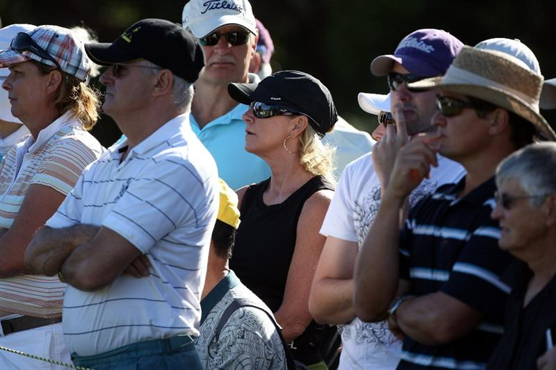 PERTH, AUSTRALIA - FEBRUARY 19:  Chris Evert of the USA follows the progress of her husband Greg Norman of Australia during the first round of the 2009 Johnnie Walker Classic tournament at the Vines Resort and Country Club, on 19 February 2009, in Perth, Australia  (Photo by David Cannon/Getty Images)