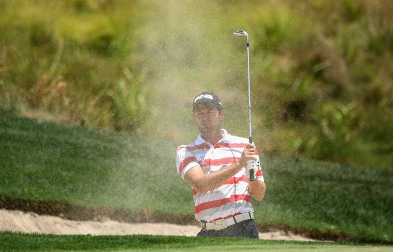 PAARL, SOUTH AFRICA - DECEMBER 20:  Gareth Maybin of Northern Ireland plays out of the fifth greenside bunker during the third round of the South African Open Championship at Pearl Valley Golf & Country Club on December 20, 2008 in Paarl, South Africa.  (Photo by Warren Little/Getty Images)