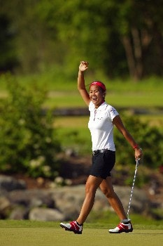 Jennifer Rosales celebrates after winning the LPGA SBS Open held at the Turtle Bay Resort on Oahu. February 26, 2005 in Kahuku, Hawaii.
