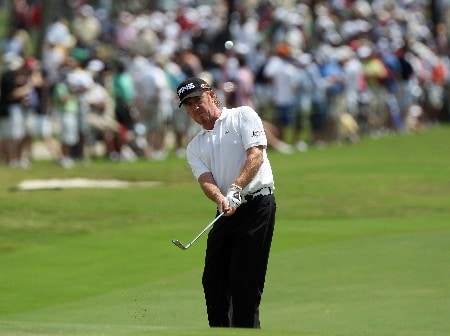 MIAMI - MARCH 21:  Miguel Angel Jimenez of Spain plays his fourth shot at the 1st hole during the second round of the 2008 World Golf Championships CA Championship at the Doral Golf Resort & Spa, on March 21, 2008 in Miami, Florida.  (Photo by David Cannon/Getty Images)