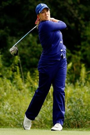 SUGAR GROVE, IL - AUGUST 21:  Cristie Kerr of the U.S. Team tees off on the 15th hole during the Friday morning Fourball matches at the 2009 Solheim Cup at Rich Harvest Farms on August 21, 2009 in Sugar Grove, Illinois.  Paula Creamer and Cristie Kerr of the U.S. Team defeated Suzann Pettersen and Sophie Gustafson of the European Team.  (Photo by Chris Graythen/Getty Images)