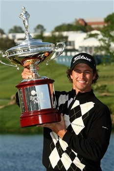 IRVING, TX - APRIL 27:  Adam Scott of Australia holds the trophy after his victory over Ryan Moore on the third playoff hole during the final round of the EDS Byron Nelson Championship at TPC Four Seasons Resort Las Colinas April 27, 2008 in Irving, Texas.  (Photo by Stephen Dunn/Getty Images)