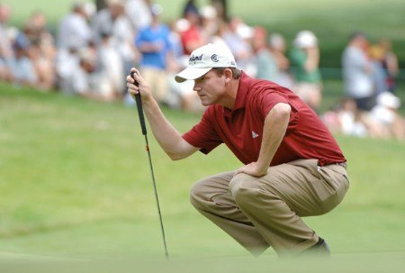 Shaun Micheel lines up a putt on the 14th hole during the final round of the Cialis Western Open at the Cog Hill Golf Club July 3, 2005 in Lemont, Illinois.Photo by Al Messerschmidt/WireImage.com