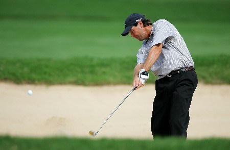 HONOLULU - JANUARY 12: Paul Azinger hits out of the bunker on the 18th hole during the third round of the Sony Open at the Waialae Country Club on January 12, 2008 in Honolulu, Oahu, Hawaii.  (Photo by Jonathan Ferrey/Getty Images)