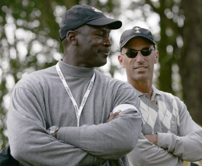 Michael Jordan and USA Assistant Captain, Corey Pavin during the Fourballs at the 2006 Ryder Cup at the K Club in Straffan, County Kildare, Ireland on September 22, 2006. The 2006 Ryder Cup - Four Ball - September 22, 2006Photo by Sam Greenwood/WireImage.com