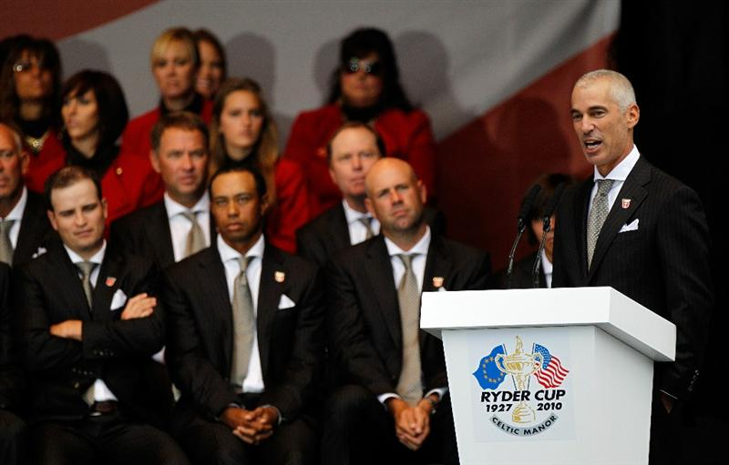 NEWPORT, WALES - SEPTEMBER 30:  USA Team Captain Corey Pavin speaks during the Opening Ceremony prior to the 2010 Ryder Cup at the Celtic Manor Resort on September 30, 2010 in Newport, Wales.  (Photo by Sam Greenwood/Getty Images)