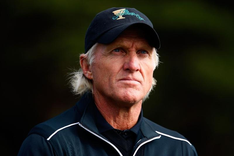 SAN FRANCISCO - OCTOBER 08:  International Team Captain Greg Norman watches the play during the Day One Foursome Matches of The Presidents Cup at Harding Park Golf Course on October 8, 2009 in San Francisco, California.  (Photo by Scott Halleran/Getty Images)