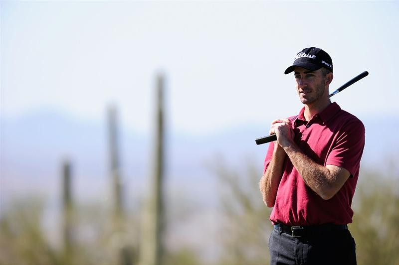 MARANA, AZ - FEBRUARY 16:  Geoff Ogilvy of Australia waits to tee off during the second practice round prior to the start of the Accenture Match Play Championship at the Ritz-Carlton Golf Club on February 16, 2010 in Marana, Arizona.  (Photo by Stuart Franklin/Getty Images)