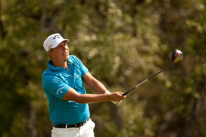 SAN ANTONIO, TX - APRIL 17: Fredrik Jacobson of Sweden follows through on a tee shot during the final round of the Valero Texas Open at the AT&T Oaks Course at TPC San Antonio on April 17, 2011 in San Antonio, Texas. (Photo by Darren Carroll/Getty Images)