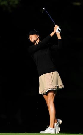 EVIAN-LES-BAINS, FRANCE - JULY 25:  Maria Verchenova of Russia plays her approach shot on the first hole during the third round of the Evian Masters at the Evian Masters Golf Club on July 25, 2009 in Evian-les-Bains, France.  (Photo by Stuart Franklin/Getty Images)