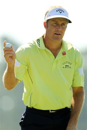 AUGUSTA, GA - APRIL 07:  Stuart Appleby waves to the crowd on the first hole during the first round of the 2011 Masters Tournament at Augusta National Golf Club on April 7, 2011 in Augusta, Georgia.  (Photo by Jamie Squire/Getty Images)