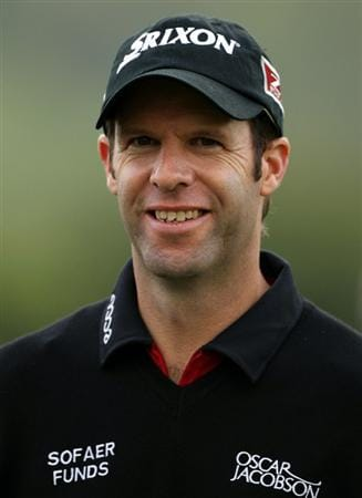 NEWPORT, WALES - JUNE 02:  Bradley Dredge of Wales smiles on the third hole during the Pro Am prior to the start of the Celtic Manor Wales Open on The Twenty Ten Course at The Celtic Manor Resort on June 2 2010 in Newport, Wales.  (Photo by Andrew Redington/Getty Images)