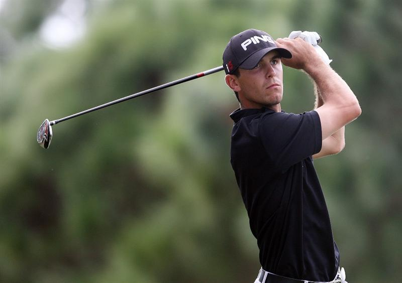 WEST PALM BEACH, FL - DECEMBER 07:  Billy Horschel hits a tee shot during the final round of the 2009 PGA TOUR Qualifying Tournament at Bear Lakes Country Club on December 7, 2009 in West Palm Beach, Florida.  (Photo by Doug Benc/Getty Images)