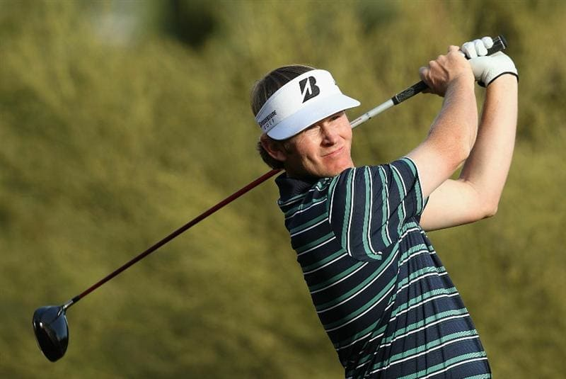 SCOTTSDALE, AZ - FEBRUARY 06:  Brandt Snedeker hits a tee shot on the fifth hole during the final round of the Waste Management Phoenix Open at TPC Scottsdale on February 6, 2011 in Scottsdale, Arizona.  (Photo by Christian Petersen/Getty Images)