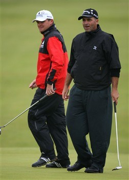 SOUTHPORT, UNITED KINGDOM - JULY 18:  Paul Lawrie of Scotland (L) and Rocco Mediate of USA walk on the 8th green during the second round of the 137th Open Championship on July 18, 2008 at Royal Birkdale Golf Club, Southport, England.  (Photo by Ross Kinnaird/Getty Images)