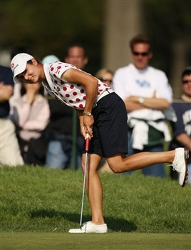 CLIFTON, NJ - MAY 17:  Lorena Ochoa of Mexico reacts to missing her birdie putt on the sixth hole during the second round of the Sybase Classic presented by ShopRite at the Upper Montclair Country Club May 17, 2008 in Clifton, New Jersey.  (Photo by Travis Lindquist/Getty Images)