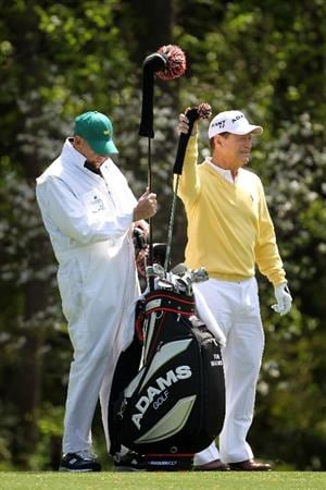 AUGUSTA, GA - APRIL 05:  Tom Watson pulls a club alongside his caddie Neil Oxman during a practice round prior to the 2011 Masters Tournament at Augusta National Golf Club on April 5, 2011 in Augusta, Georgia.  (Photo by Jamie Squire/Getty Images)
