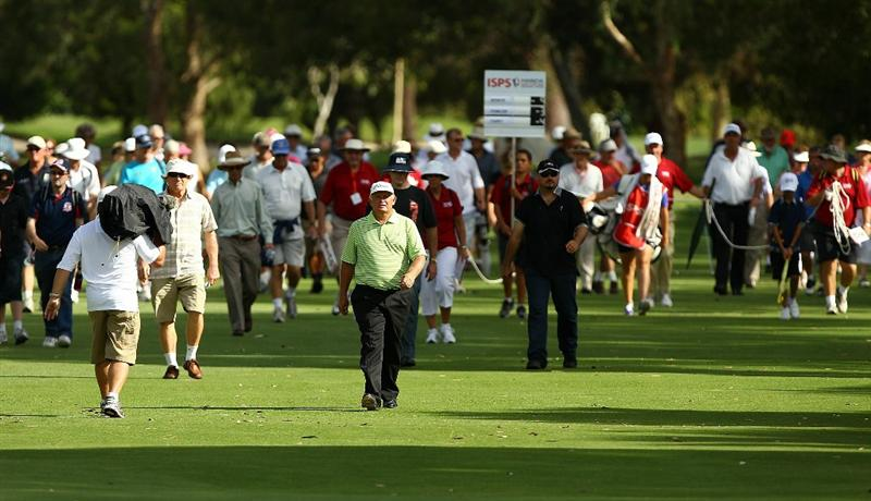 PERTH, AUSTRALIA - NOVEMBER 19:  Peter Senior of Australia walks up the 18th hole during day three of the 2010 Australian Senior Open at Royal Perth Golf Club on November 21, 2010 in Perth, Australia.  (Photo by Paul Kane/Getty Images)