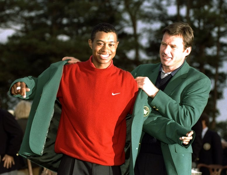 Tiger Woods and Nick Faldo