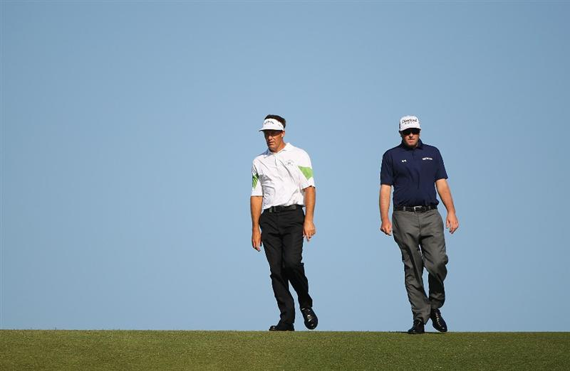 SYDNEY, AUSTRALIA - DECEMBER 04:  Stuart Appleby of Australia and Steve Marino of the USA walk down the 12th fairway during the second round of the 2009 Australian Open at New South Wales Golf Club on December 4, 2009 in Sydney, Australia.  (Photo by Cameron Spencer/Getty Images)