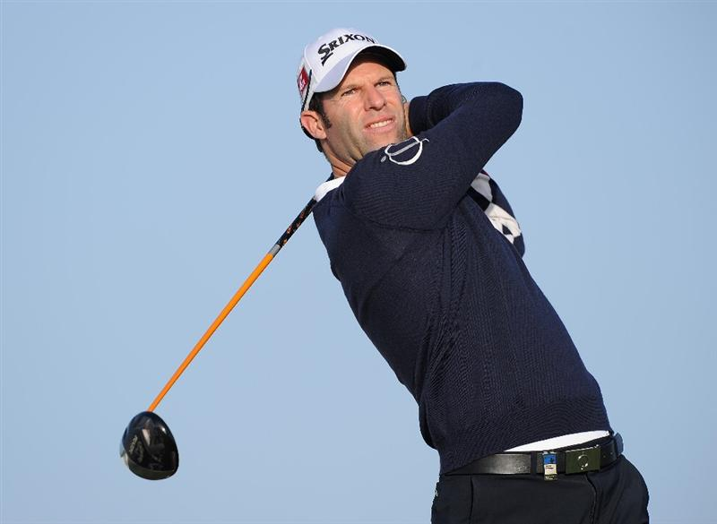 AGADIR, MOROCCO - MARCH 31:  Bradley Dredge of Wales plays a shot during the first round of the Trophee du Hassan II Golf at the Golf du L`Ocean on March 31, 2011 in Agadir, Morocco.  (Photo by Stuart Franklin/Getty Images)