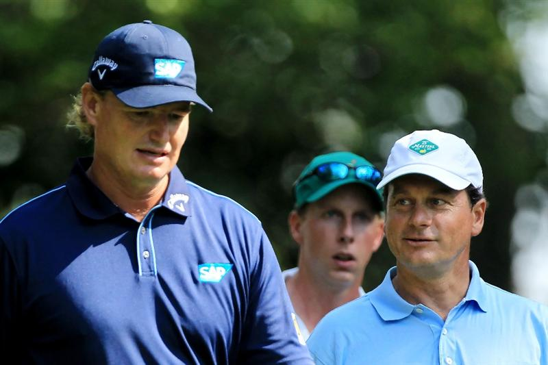 AUGUSTA, GA - APRIL 09:  Ernie Els of South Africa walks with Jeff Knox, playing as a non-competing marker, on the second hole during the third round of the 2011 Masters Tournament at Augusta National Golf Club on April 9, 2011 in Augusta, Georgia.  (Photo by David Cannon/Getty Images)