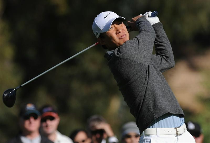 PACIFIC PALISADES, CA - FEBRUARY 17:  Anthony Kim plays his tee shot on the second hole during the first round of the Northern Trust Open at Riviera Country Club on February 17, 2011 in Pacific Palisades, California.  (Photo by Stuart Franklin/Getty Images)
