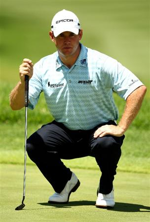 SUN CITY, SOUTH AFRICA - DECEMBER 05:  Lee Westwood of England lines up a putt on the 8th green during the second round of the Nedbank Golf Challenge at the Gary Player Country Club on December 5, 2008 in Sun City, South Africa.  (Photo by Richard Heathcote/Getty Images)