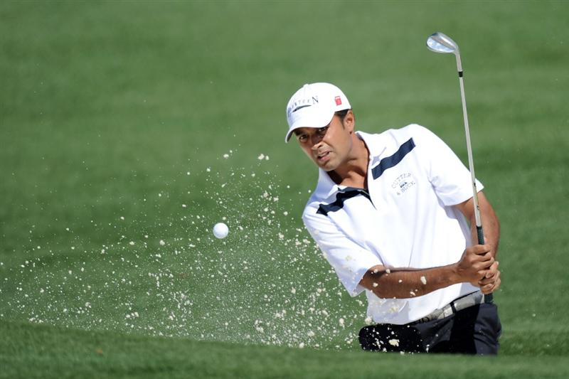AUGUSTA, GA - APRIL 07:  Arjun Atwal of India hits from a bunker on the second green during the first round of the 2011 Masters Tournament at Augusta National Golf Club on April 7, 2011 in Augusta, Georgia.  (Photo by Harry How/Getty Images)