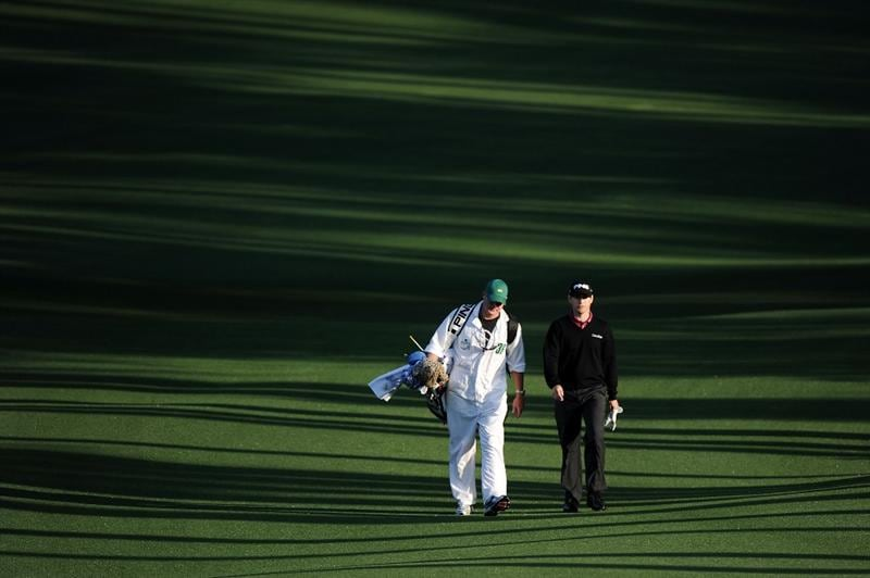 AUGUSTA, GA - APRIL 08:  Heath Slocum walks with his caddie Donald Nelson on the second hole during the first round of the 2010 Masters Tournament at Augusta National Golf Club on April 8, 2010 in Augusta, Georgia.  (Photo by Harry How/Getty Images)