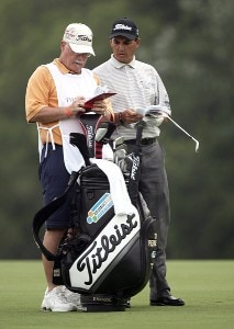 Tom Pernice Jr. and his caddy during the first round of THE PLAYERS Championship held on THE PLAYERS Stadium Course at TPC Sawgrass in Ponte Vedra Beach, Florida, on May 10, 2007. Photo by Sam Greenwood/WireImage.com