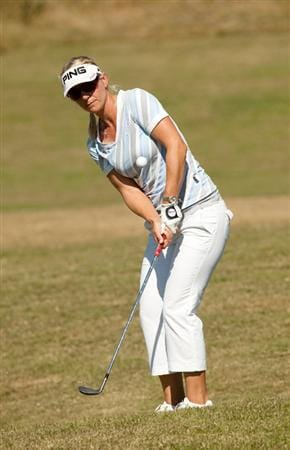 PRATTVILLE, AL - OCTOBER 7: Louise Friberg of Sweden plays a chip shot during the first round of the Navistar LPGA Classic at the Senator Course at the Robert Trent Jones Golf Trail at Capitol Hill on October 7, 2010 in Prattville, Alabama. (Photo by Darren Carroll/Getty Images)
