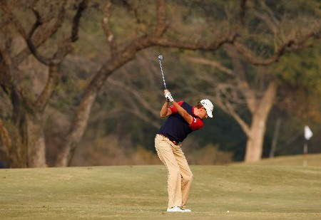 NEW DELHI, INDIA - FEBRUARY 08:  Maarten Lafeber of The Netherlands plays his approach shot on the fourth hole during the second round of the Emaar-MGF Indian Masters at the Delhi Golf Club on February 8, 2008 in Delhi, India.  (Photo by Stuart Franklin/Getty Images)