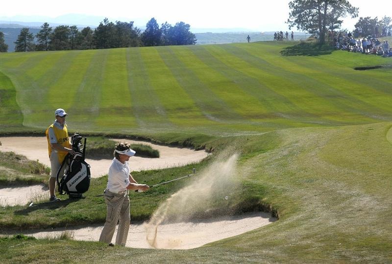 PARKER, CO - MAY 28: Bernhard Langer of Germany hits out of the trap on the 9th hole  during the second round of the Senior PGA Championship at the Colorado Golf Club on May 28, 2010 in Parker, Colorado.  (Photo by Marc Feldman/Getty Images)