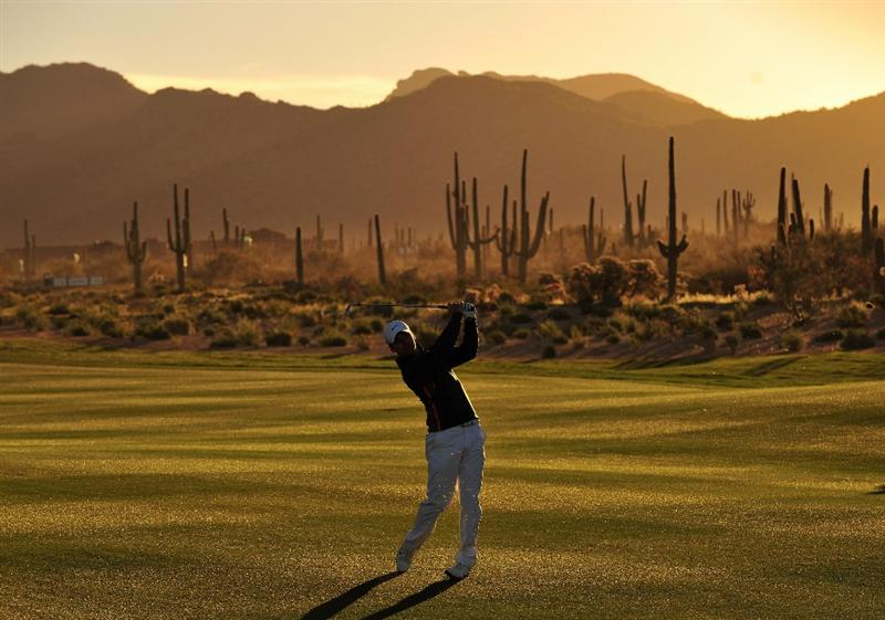 MARANA, AZ - MARCH 1:  Paul Casey of England plays his approach shot on the second hole during the final round of Accenture Match Play Championships at The Ritz-Carlton Golf Club at Dove Mountain March 1, 2009 in Marana, Arizona.  (Photo by Stuart Franklin/Getty Images)