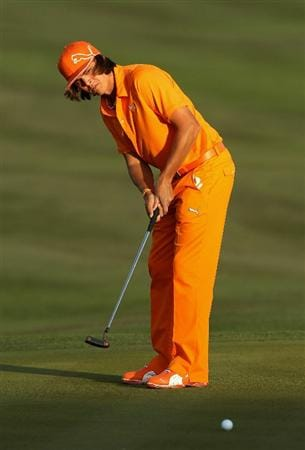 SCOTTSDALE, AZ - FEBRUARY 06:  Rickie Fowler putts on the tenth hole green during the final round of the Waste Management Phoenix Open at TPC Scottsdale on February 6, 2011 in Scottsdale, Arizona.  (Photo by Christian Petersen/Getty Images)