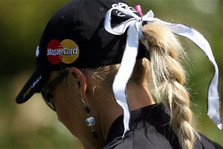 EVIAN, FRANCE - JULY 27:  Natalie Gulbis on the 2nd hole during the final round of the Evian Masters on July 27, 2008 at the Evian Golf Club in Evian, France.  (Photo by Andy Lyons/Getty Images)
