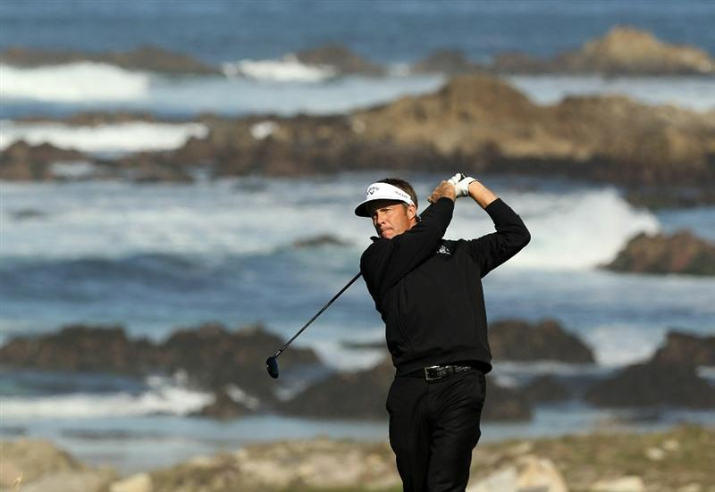 PEBBLE BEACH, CA - FEBRUARY 11:  Stuart Appleby of Australia tees off on the 13th hole during the second round of the AT&T Pebble Beach National Pro-Am at Monterey Peninsula Country Club on February 11, 2011 in Pebble Beach, California.  (Photo by Ezra Shaw/Getty Images)