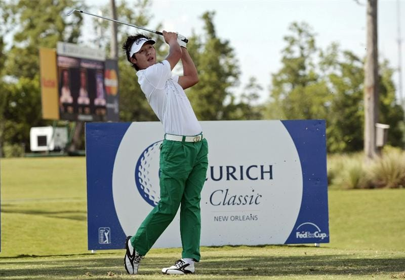 AVONDALE, LA - APRIL 24: Danny Lee of New Zealand hits his tee shot on the 17th hole during the second round of the Zurich Classic at TPC Louisiana on April 24, 2009  in Avondale, Louisiana. (Photo by Dave Martin/Getty Images)