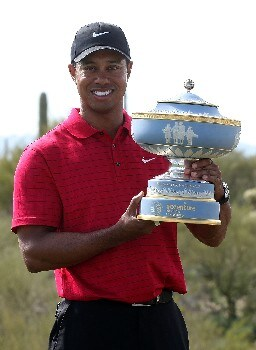 MARANA, AZ - FEBRUARY 24:  Tiger Woods poses with the Walter Hagen Cup after winning the WGC-Accenture Match Play Championship at The Gallery at Dove Mountain on February 24, 2008 in Marana, Arizona.  (Photo by Scott Halleran/Getty Images)