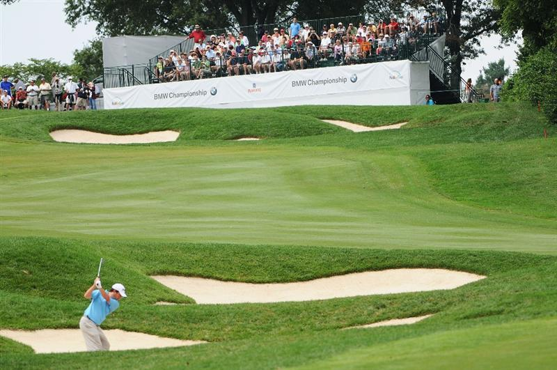 ST. LOUIS - SEPTEMBER 6:  Tim Clark hits out of the fairway bunker on the 9th hole during the second round of the BMW Championship held at Bellerive Country Club on September 6, 2008 in St. Louis, Missouri. (Photo by Marc Feldman/Getty Images)