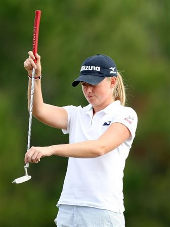 DAYTONA BEACH, FL - DECEMBER 04:  Stacy Lewis looks over a putt on the 12th hole during the second round of the LPGA Qualifying School at LPGA International on December 4, 2008 in Daytona Beach, Florida.  (Photo by Sam Greenwood/Getty Images)
