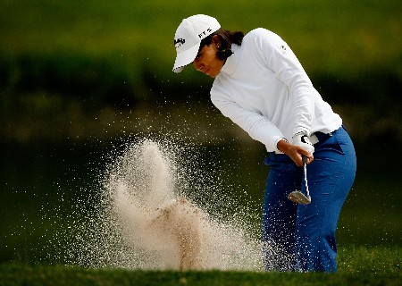 CLIFTON, NJ - MAY 18:  Julieta Granada of Paraguay hits from a bunker on the 12th hole during the second round of the Sybase Classic at Upper Montclair Country Club on May 18, 2007 in Clifton, New Jersey.  (Photo by Travis Lindquist/Getty Images)