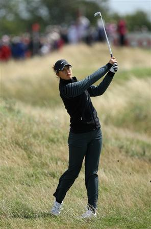 LYTHAM ST ANNES, ENGLAND - JULY 30:  Michelle Wie of USA hits her approach shot on the 4th hole during the first round of the 2009 Ricoh Women's British Open Championship held at Royal Lytham St Annes Golf Club, on July 30, 2009 in  Lytham St Annes, England.  (Photo by David Cannon/Getty Images)