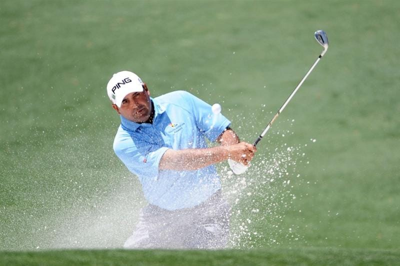 AUGUSTA, GA - APRIL 09:  Angel Cabrera of Argentina plays a bunker shot on the second hole during the second round of the 2010 Masters Tournament at Augusta National Golf Club on April 9, 2010 in Augusta, Georgia.  (Photo by Harry How/Getty Images)