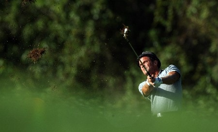 LAKE BUENA VISTA, FL - NOVEMBER 02:  Jesper Parnevik of Sweden hits his second shot at the 13th hole on the Palm Course during the second round of The Childrens Miracle Network Classic held on the Palm and Magnolia Courses at The Disney Shades of Green Resort, on November 2, 2007 in Lake Buena Vista, Florida.  (Photo by David Cannon/Getty Images)