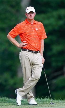 NORTON, MA - SEPTEMBER 5:  Lucas Glovers sports Clemson University shirt during the second round of the Deutsche Bank Championship held at TPC Boston on September 5, 2009 in Norton, Massachusetts. (Photo by Jim Rogash/Getty Images)