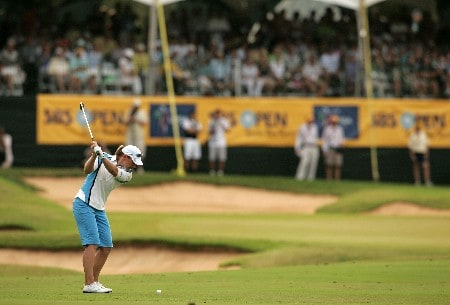 KAHUKU, HI - FEBRUARY 16:  Annika Sorenstam of Sweden hits her third shot on the 18th hole during the final round of the SBS Open on February 16, 2008  at the Turtle Bay Resort in Kahuku, Hawaii.  (Photo by Andy Lyons/Getty Images)