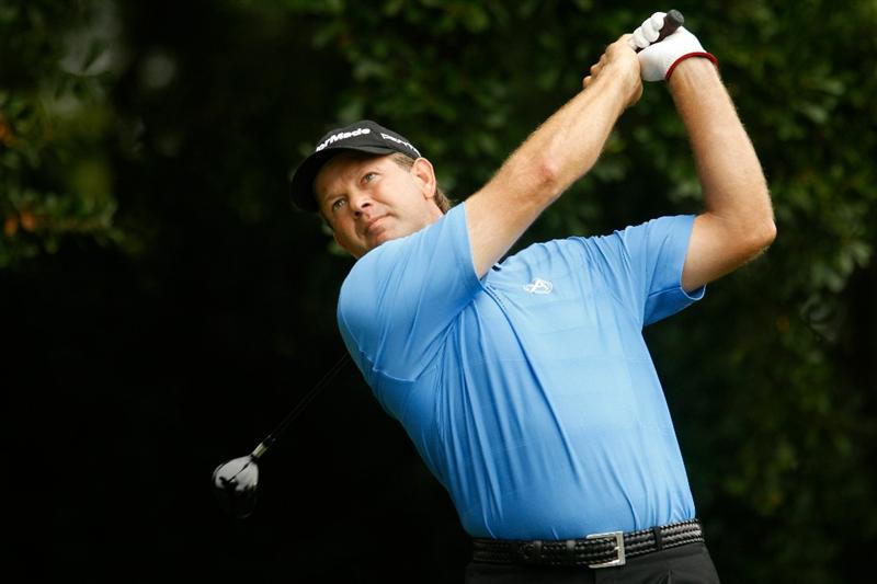 ATLANTA - SEPTEMBER 26:  Retief Goosen of South Africa hits his tee shot on the third hole during the final round of THE TOUR Championship presented by Coca-Cola at East Lake Golf Club on September 26, 2010 in Atlanta, Georgia.  (Photo by Scott Halleran/Getty Images)