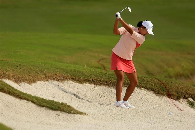 WEST PALM BEACH, FL - NOVEMBER 23:  Seon Hwa Lee of South Korea hits a shot on the 18th hole during the final round of the ADT Championship at the Trump International Golf Club on November 23, 2008 in West Palm Beach, Florida.  (Photo by Scott Halleran/Getty Images)